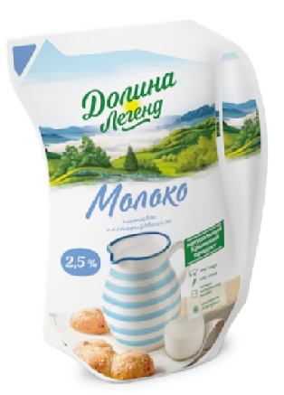 Молоко 2,5% 900гр эколин ТМ Долина легенд